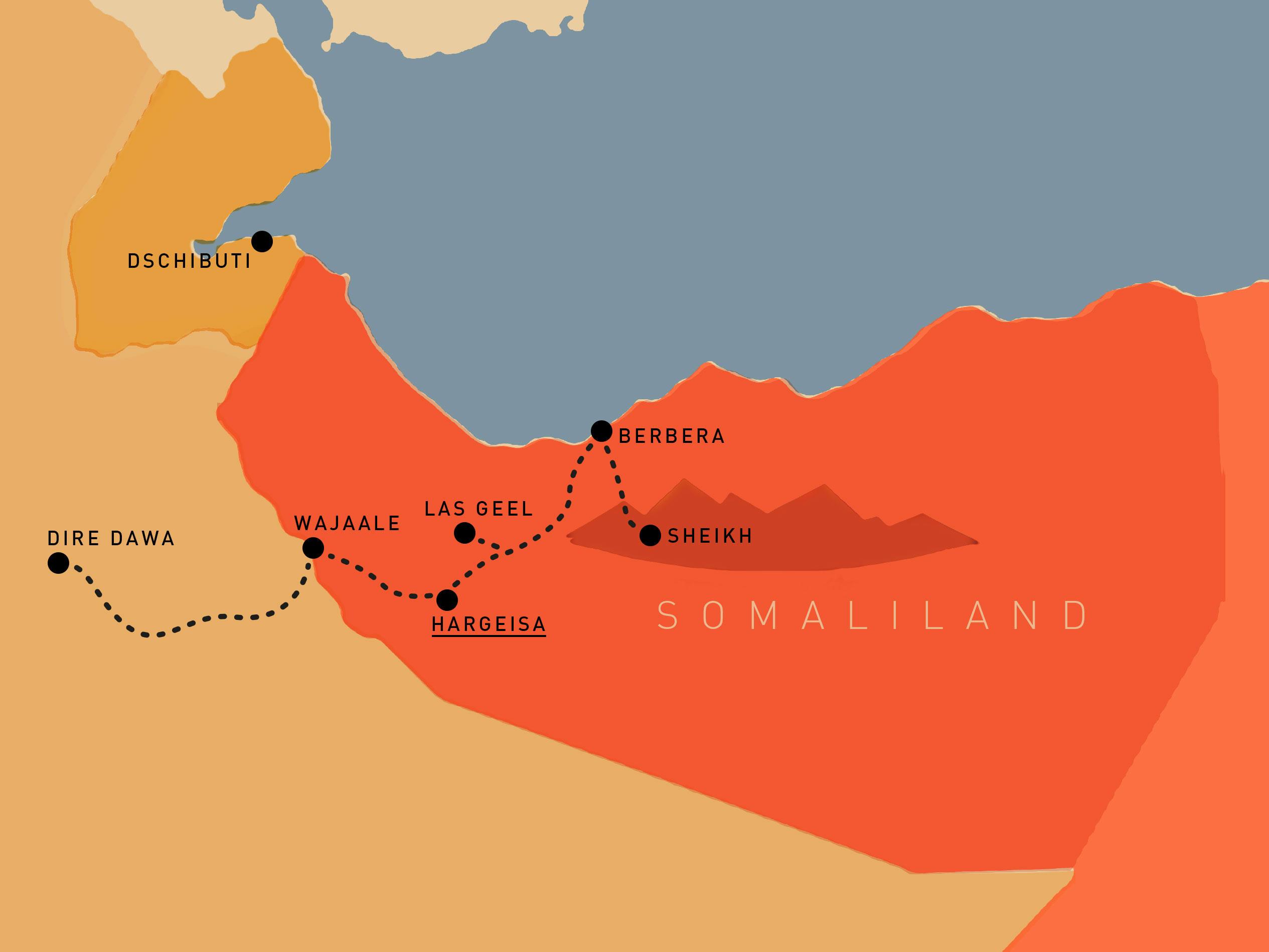 Wir starten unsere Reise in Äthiopien, in Wajaale gehen wir über die Grenze.