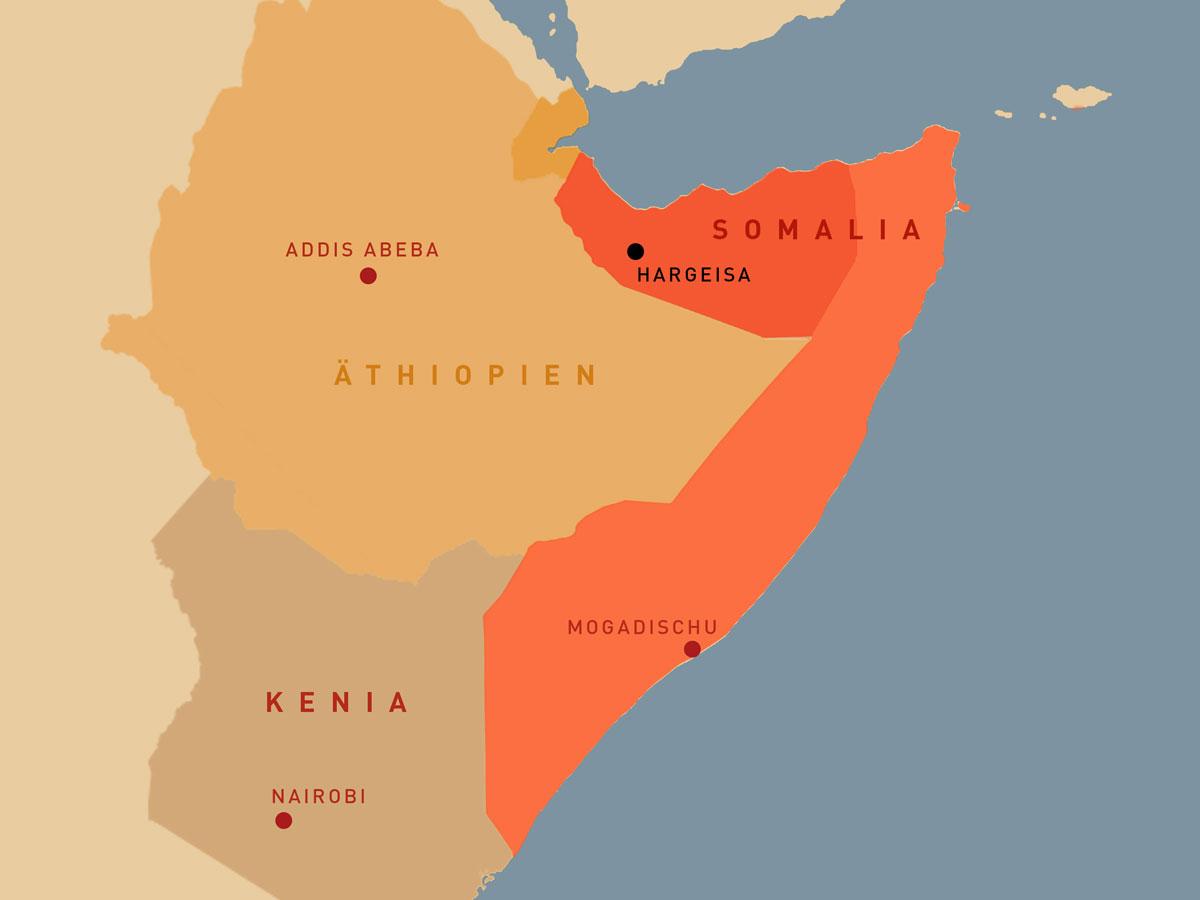 Das Horn von Afrika: Somalia grenzt an Äthiopien, Kenia und Dschibuti