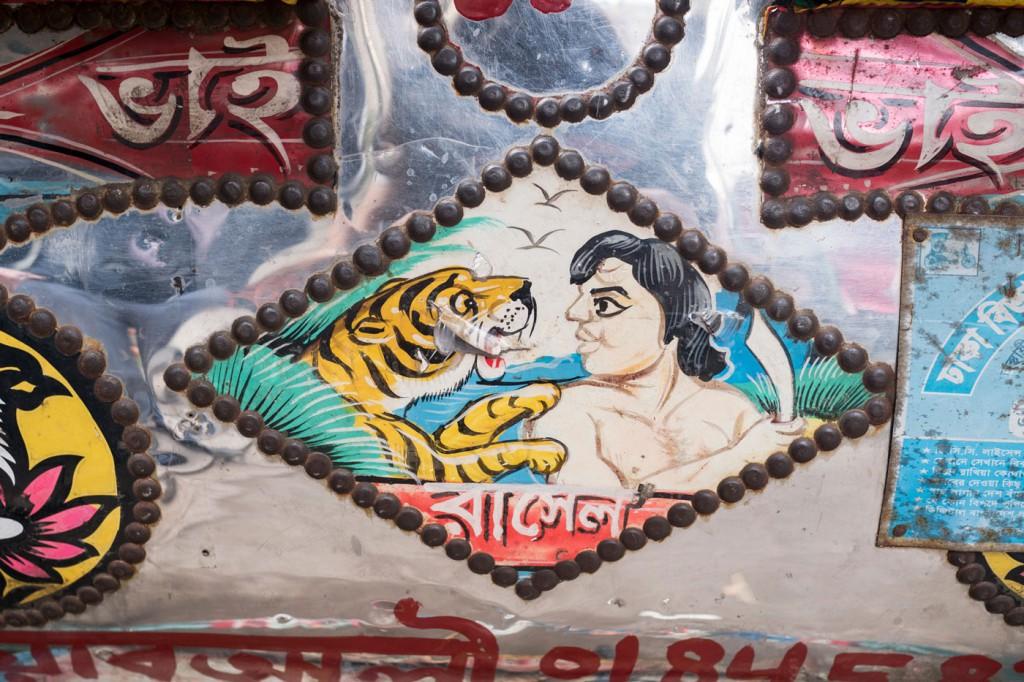 Fahrzeuge werden in Bangladesch gerne dekoriert. Die Fahrrad-Rickschas sind besonders detailreich geschmückt.