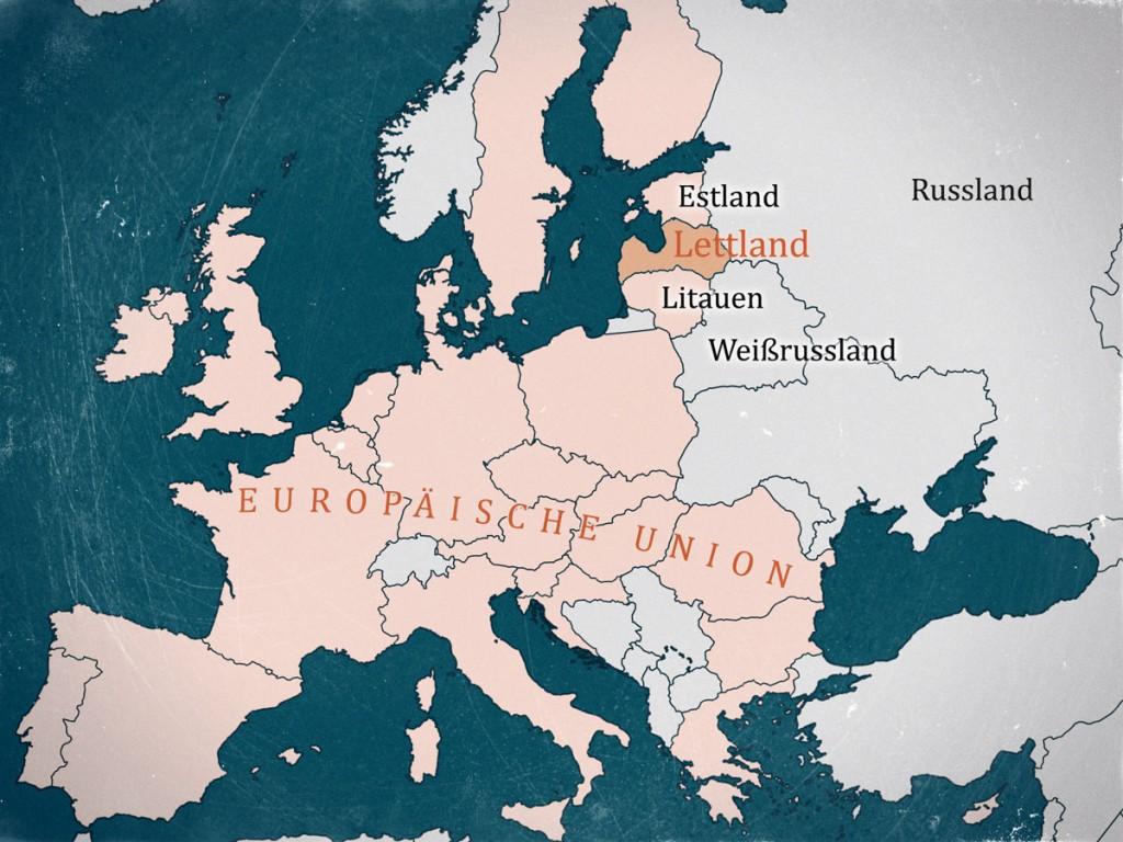 Lettland in der EU Karte