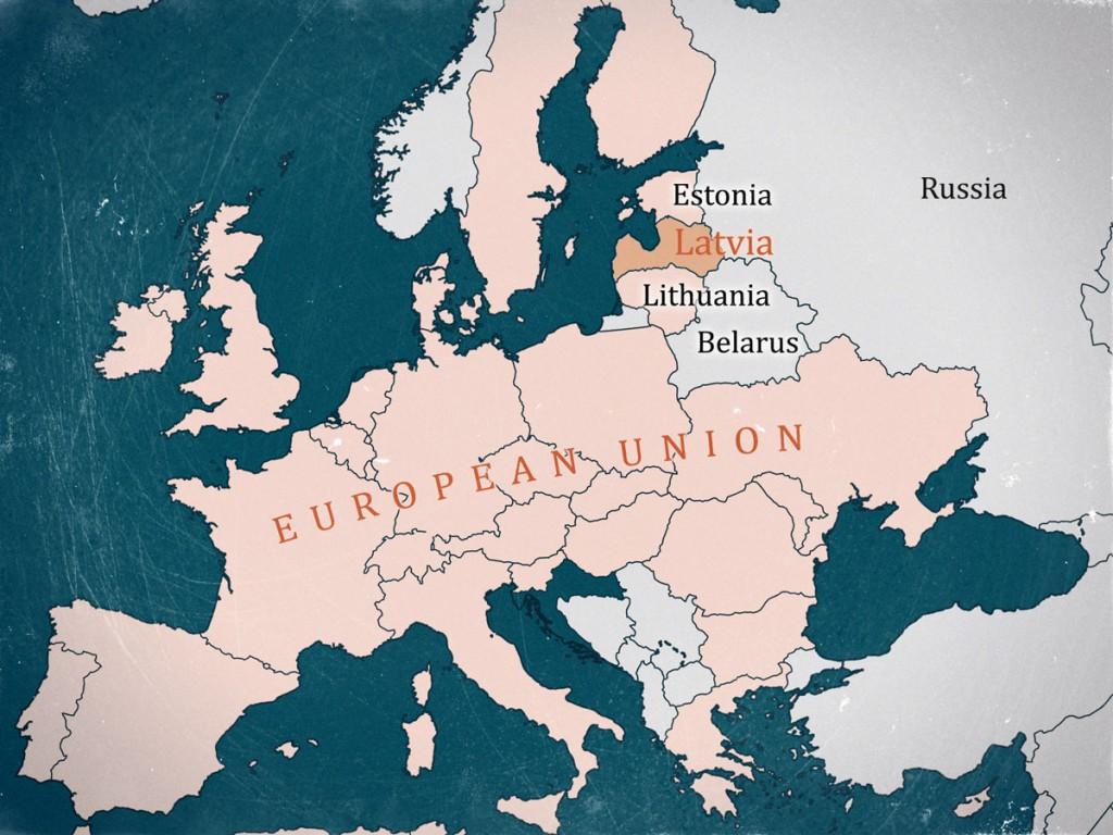 Latvia Map in the EU